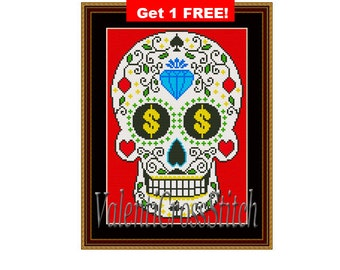 CROSS STITCH pattern, Sugar Skull, Modern pattern,Mexican pattern, Skull patterns, pattern3