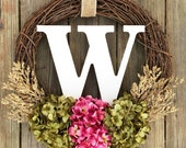Monogram Wreath, Summer Door Wreath , Wreath, Front Door Wreath, Summer Wreath, Spring Door Wreath, Wedding Wreath, Letter Wreath
