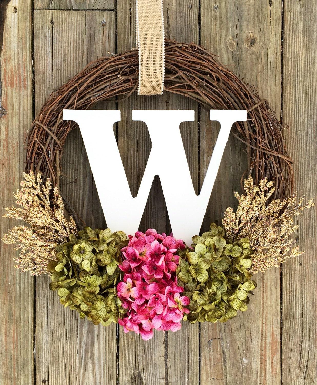 Monogram wreath front door wreath wreath door wreath fall for Vine craft ideas