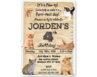 KITTEN Birthday Invitation, Cat Invitation, Kitty Birthday Invitation, Cute Kitten Theme Party, Printable or Printed with FREE SHIPPING 384