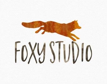 Watercolor Fox Logo Design , Watercolour Fox , Jumping Fox , Woodland Logo , Nature Logo , Leaping Fox , Forest Logo , Red Fox