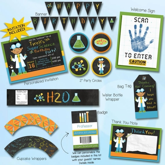 Science Party Invitation & Printable Decorations. Dark hair. Invitation included. Everything you need!