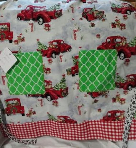 Bringing Home the Christmas Tree reversible adult apron SALE