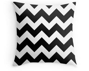 Black White Chevron Pillow, Black Chevron Pillow Case, Black White Chevron, Black White Pillow, Black White Toss Pillow, Black White Room