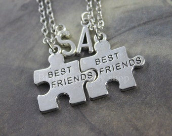 Puzzle Piece ,Gift for Friends,Set of necklace, Personalized gift, Best Friends necklace,Initial necklace