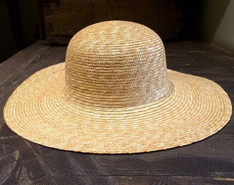 Women's straw hat with a wide brim
