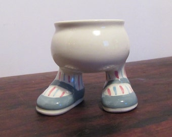Adorable English Egg Cup—with Feet Dressed in Blue Mary Janes