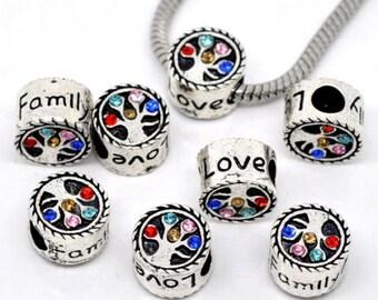 10 Rhinestone Family Love Tree Beads Charms