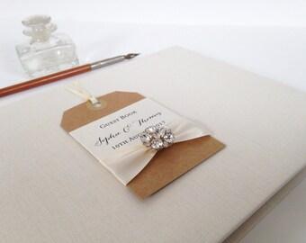 Luxury Guest Book, Wedding, Guest Book, Bridal Journal, ivory Guest Book, Wedding Keepsake Book, Wedding Journal