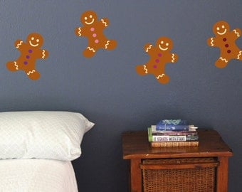 Gingerbread man cookies, Wall Decals, Set of 10, Christmas Decoration