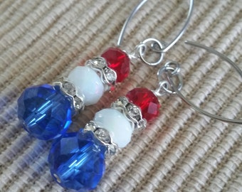 Red, White n Blue with Sparkle Earrings