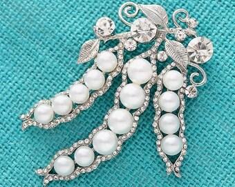 Crystal Pearl Brooch, Pearl Wedding Broaches,  Bridal Brooch, Pearl Brooches Bouquet, Cake Broach Decor, Rhinestone Brooches