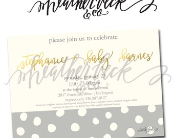gray dot baby shower invite