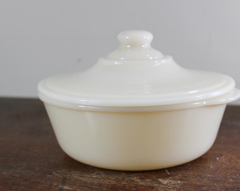 White Ivory Glass Fire King Covered Casserole Dish Scroll Pattern Philbe- Cookware -Antique Bakeware - White Casserole - Lid