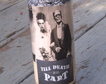 Halloween Wedding Candle FRANKENSTEIN BRIDE CANDLE Til Death Do Us Part Gothic Wedding