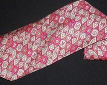 October Sale Vintage Emilio Pucci Tie Saks Fifht Avenue Pink Printed Silk Designer High End Name Brand Mens Dress Necktie Italian Neckwear