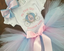 My First Trip to Disney Personalized embroidered Princess Carriage Coach shirt Tutu Outfit Cinderella Birthday Disney Vacation cake smash