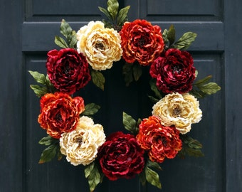 Fall Front Door Wreath, Fall Wreath, Thanksgiving Wreath, Fall Floral Wreath, Fall Door Wreath, Autumn Door Wreathe, Peony Wreath for Door