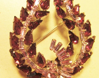 Vintage 30's Large Glass Crystal Rhinestone Prong Set Pin Brooch Signed Jay Flex Sterling