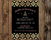 "Printable 5"" x 7"" Boho Chic Birthday Invitation. Tribal Inspired Metallic Gold and Black Birthday Invitation / Flat Card. Arrows & Tent."