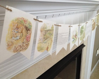 PETER RABBIT storybook banner pendant bunting nursery or party decoration