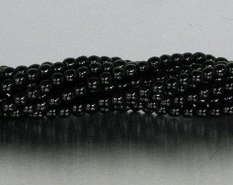 3mm Round Bead, Jet Black, Druk Bead, (5-03-2398), 100 count