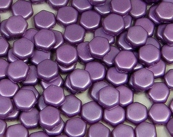 Honeycomb Bead, Pastel (Pearl Coat) Lilac, 2 Hole Glass Beads, (HC-25012), 6mm, 30 count