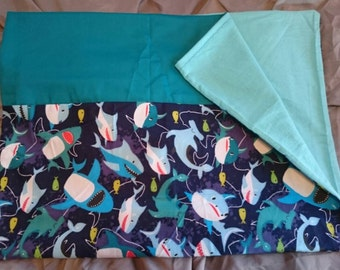 Pillowcases, Pillow case, pillow cases - Assorted Styles - Teal sharks flannel and light turquoise flannel