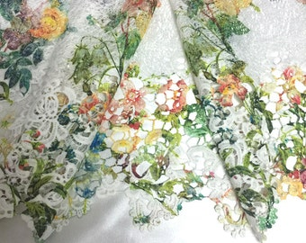 """1 meter  120cm  47"""" wide white bilateral embroidered  hollow printed fabric for  shawl robes decoration MM353 free ship"""