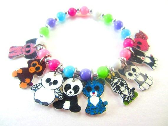 Beanie Boo Charm Bracelet, Beanie Boo Jewelry, Beanie Boo Gift, Beanie Boo Birthday, Beanie Boo Necklace