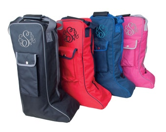 Personalised Embroidered Rhinegold Long Riding Boot bag - with Monogram Design perfect gift for any rider.  Pony - Horse - Show - hat
