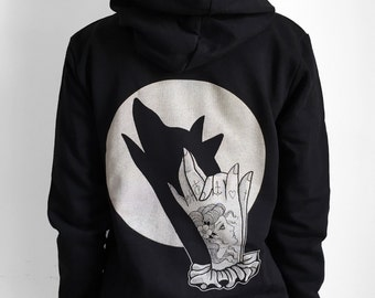 Women's hoodie with wolf print, hand shadow puppet, wolf tattoo print, moon print, womens sweater, steampunk womans clothing, animal print