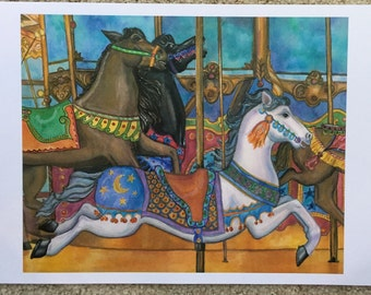 Carousel Horse Watercolor Print 11 x 14 inches