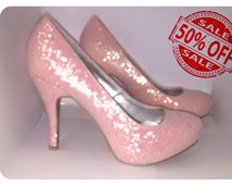 Sale ! Womens SPARKLY light petal pink  glitter pumps high heels stiletto shoes  bride wedding prom party pumps READY 2 SHIP