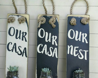 our home sign / spanish signs / signs is spanish / signs in espanol / rustic decor / rustic home decor / entry decoration