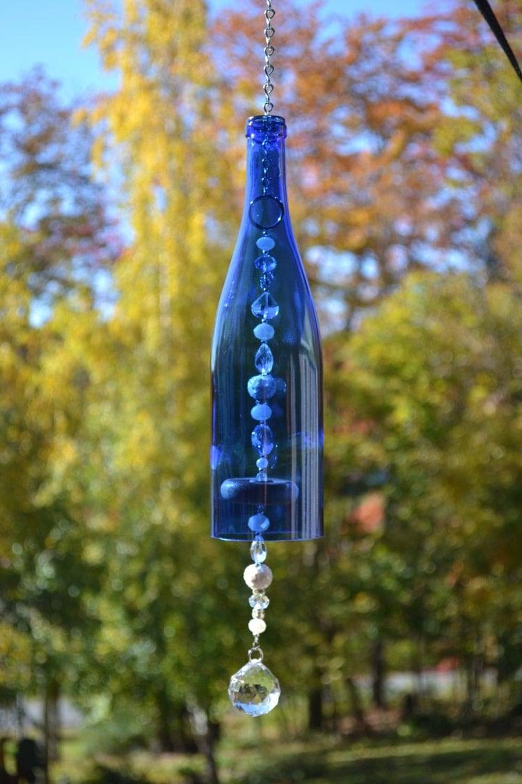 Wine Bottle Wind Chime Blue Wine Bottle By Whiteroostershoppe