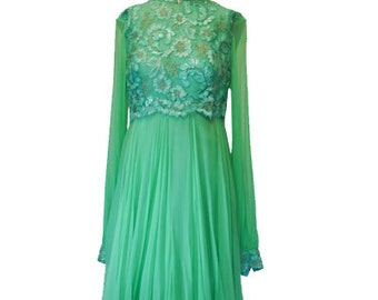 Silk  Chiffon & Lace Dress - Prom- Party