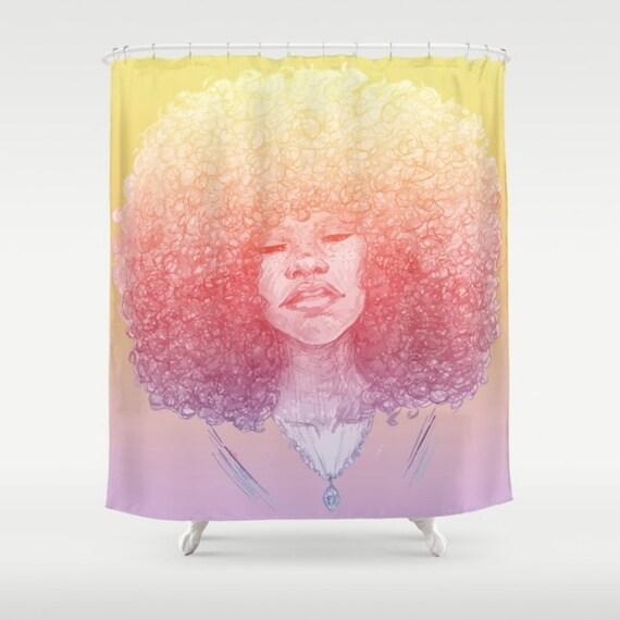 Black Girl Magic Afro Girl Shower Curtain By MirabellaMarket