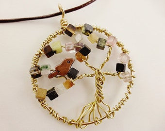 Tree of Life Necklace, Brass and Gemstone