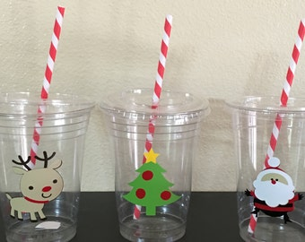 Christmas party cups, Santa Party Cups, Christmas Birthday Party Cups, Reindeer Party Cups