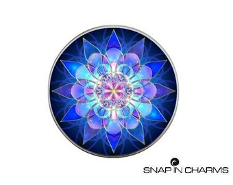 Mandala button charm, Snap jewelry, snap button charms, blue mandala charm, chunk charms, snap buttons, poppers,