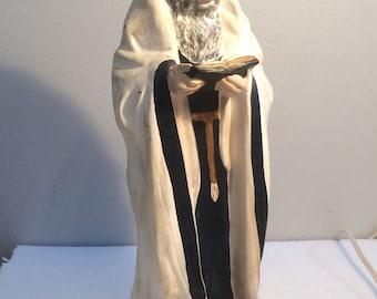 Vintage Rabbi Statue Judaica Jewish Figure Figurine Israel Hebrew Jerusalem