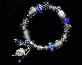 Genuine Pandora Bracelet ~ BLUEBERRY PIE ~ with European Style Beads