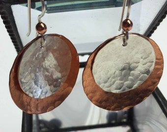 Handcrafted Earrings.  Hammered Copper, and Sterling Silver Earrings.  Domed Earrings.