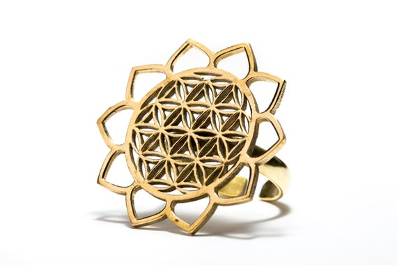 Adjustable Flower Of Life Ring Brass Lotus Design Sacred Geometry Ring, Yoga Jewellery, Gift Boxed + Gift Bag , Free UK Delivery