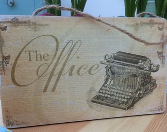 Office vintage style Wooden Hanging Plaque Gift