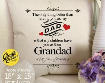 PERSONALISED Fathers Day Cushion Cover Large Cotton Canvas - Dad Grandad