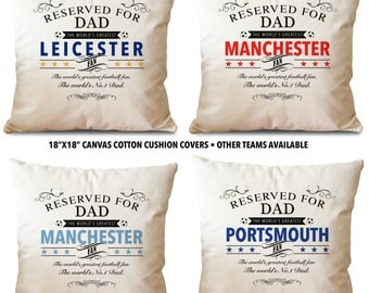 FATHERS DAY Football Team Reserved for dad Cotton Canvas Cushion Pillow Cover