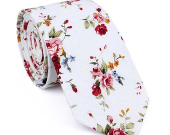 Floral tie, Mens ties, mens skinny tie, floral skinny tie, Liberty skinny tie, white skinny tie, men's floral tie