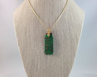 Green & Gold Circuit Board Pendant with Gold Plated Chain - Techie Necklace - Circuit Board Necklace